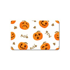 Funny Spooky Halloween Pumpkins Pattern White Orange Magnet (name Card)