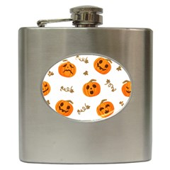 Funny Spooky Halloween Pumpkins Pattern White Orange Hip Flask (6 Oz)