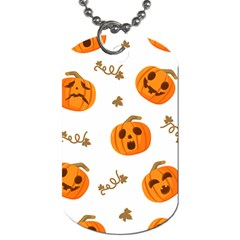 Funny Spooky Halloween Pumpkins Pattern White Orange Dog Tag (two Sides)