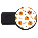 Funny Spooky Halloween Pumpkins Pattern White Orange USB Flash Drive Round (2 GB) Front