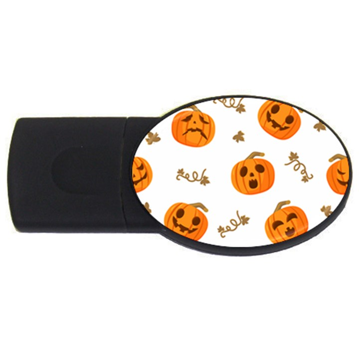 Funny Spooky Halloween Pumpkins Pattern White Orange USB Flash Drive Oval (2 GB)