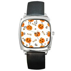 Funny Spooky Halloween Pumpkins Pattern White Orange Square Metal Watch