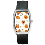 Funny Spooky Halloween Pumpkins Pattern White Orange Barrel Style Metal Watch Front