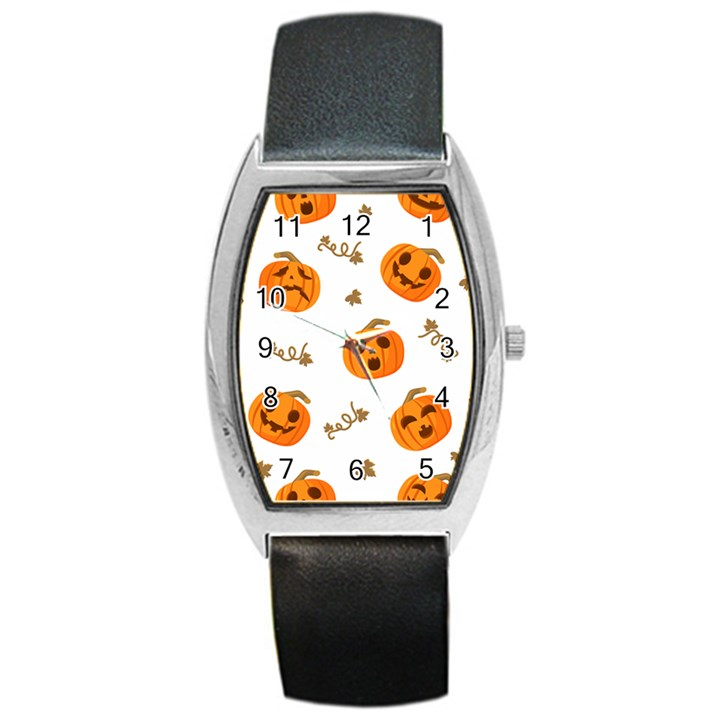 Funny Spooky Halloween Pumpkins Pattern White Orange Barrel Style Metal Watch