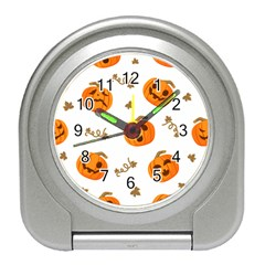 Funny Spooky Halloween Pumpkins Pattern White Orange Travel Alarm Clock by HalloweenParty