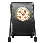 Funny Spooky Halloween Pumpkins Pattern White Orange Pen Holder Desk Clock Front