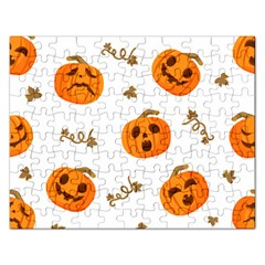 Funny Spooky Halloween Pumpkins Pattern White Orange Rectangular Jigsaw Puzzl