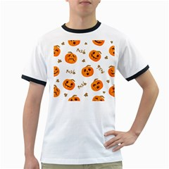 Funny Spooky Halloween Pumpkins Pattern White Orange Ringer T