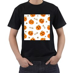 Funny Spooky Halloween Pumpkins Pattern White Orange Men s T Shirt (black) (two Sided)