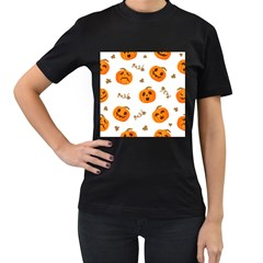 Funny Spooky Halloween Pumpkins Pattern White Orange Women s T Shirt (black) (two Sided)