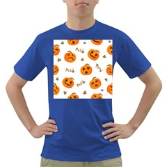 Funny Spooky Halloween Pumpkins Pattern White Orange Dark T Shirt