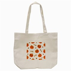 Funny Spooky Halloween Pumpkins Pattern White Orange Tote Bag (cream)