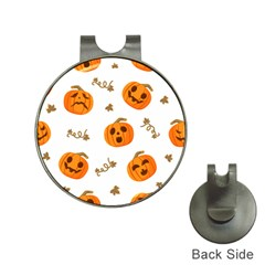 Funny Spooky Halloween Pumpkins Pattern White Orange Hat Clips With Golf Markers