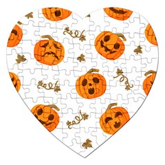 Funny Spooky Halloween Pumpkins Pattern White Orange Jigsaw Puzzle (heart)
