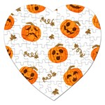 Funny Spooky Halloween Pumpkins Pattern White Orange Jigsaw Puzzle (Heart) Front
