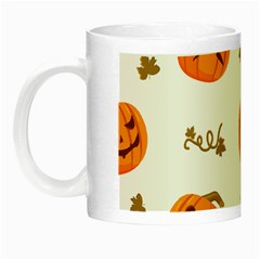 Funny Spooky Halloween Pumpkins Pattern White Orange Night Luminous Mugs