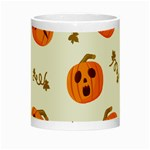 Funny Spooky Halloween Pumpkins Pattern White Orange Night Luminous Mugs Center