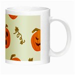 Funny Spooky Halloween Pumpkins Pattern White Orange Night Luminous Mugs Right