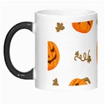 Funny Spooky Halloween Pumpkins Pattern White Orange Morph Mugs Left