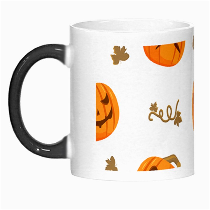 Funny Spooky Halloween Pumpkins Pattern White Orange Morph Mugs
