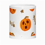 Funny Spooky Halloween Pumpkins Pattern White Orange Morph Mugs Center