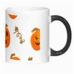 Funny Spooky Halloween Pumpkins Pattern White Orange Morph Mugs Right