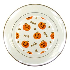 Funny Spooky Halloween Pumpkins Pattern White Orange Porcelain Plates by HalloweenParty
