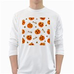 Funny Spooky Halloween Pumpkins Pattern White Orange Long Sleeve T-Shirt Front