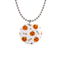 Funny Spooky Halloween Pumpkins Pattern White Orange 1  Button Necklace