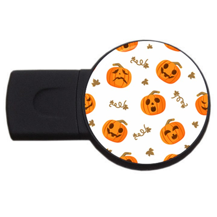 Funny Spooky Halloween Pumpkins Pattern White Orange USB Flash Drive Round (4 GB)