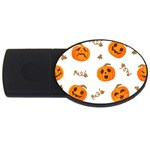Funny Spooky Halloween Pumpkins Pattern White Orange USB Flash Drive Oval (4 GB) Front