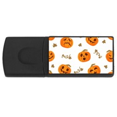 Funny Spooky Halloween Pumpkins Pattern White Orange Rectangular Usb Flash Drive