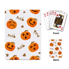 Funny Spooky Halloween Pumpkins Pattern White Orange Playing Cards Single Design