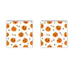 Funny Spooky Halloween Pumpkins Pattern White Orange Cufflinks (Square) Front