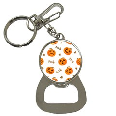 Funny Spooky Halloween Pumpkins Pattern White Orange Bottle Opener Key Chains