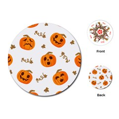 Funny Spooky Halloween Pumpkins Pattern White Orange Playing Cards (round)