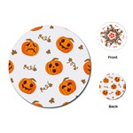 Funny Spooky Halloween Pumpkins Pattern White Orange Playing Cards (Round) Front