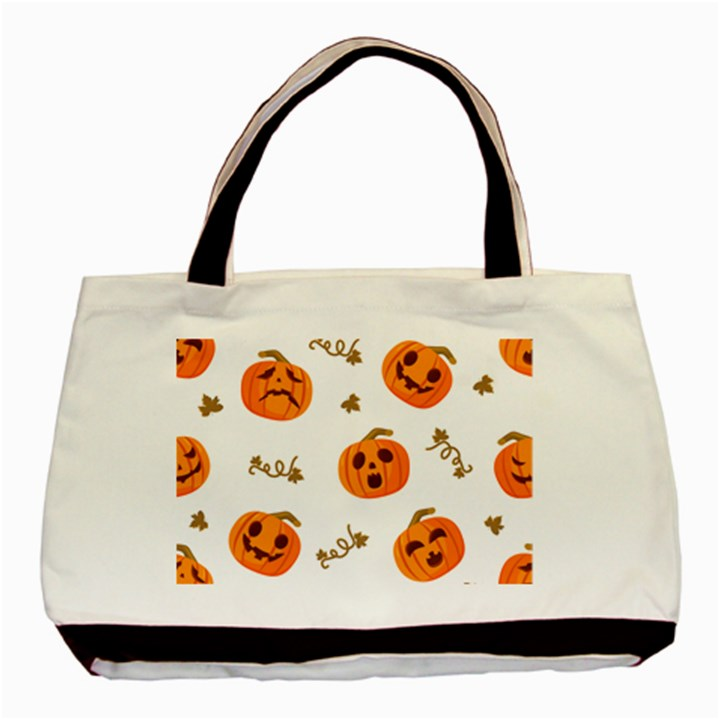 Funny Spooky Halloween Pumpkins Pattern White Orange Basic Tote Bag