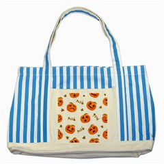 Funny Spooky Halloween Pumpkins Pattern White Orange Striped Blue Tote Bag