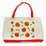 Funny Spooky Halloween Pumpkins Pattern White Orange Classic Tote Bag (Red) Front