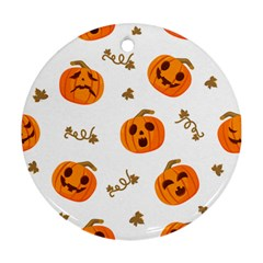 Funny Spooky Halloween Pumpkins Pattern White Orange Round Ornament (two Sides)