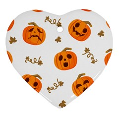 Funny Spooky Halloween Pumpkins Pattern White Orange Heart Ornament (two Sides)