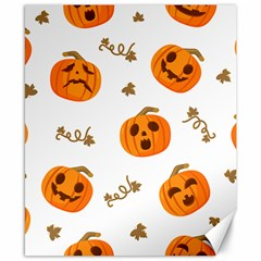 Funny Spooky Halloween Pumpkins Pattern White Orange Canvas 8  X 10