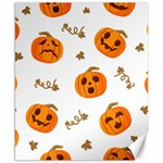Funny Spooky Halloween Pumpkins Pattern White Orange Canvas 8  x 10  10.02 x8  Canvas - 1