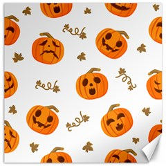 Funny Spooky Halloween Pumpkins Pattern White Orange Canvas 12  X 12