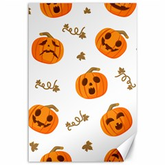 Funny Spooky Halloween Pumpkins Pattern White Orange Canvas 12  X 18