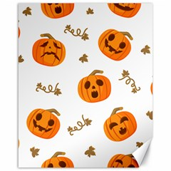 Funny Spooky Halloween Pumpkins Pattern White Orange Canvas 16  X 20  by HalloweenParty
