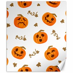 Funny Spooky Halloween Pumpkins Pattern White Orange Canvas 20  X 24