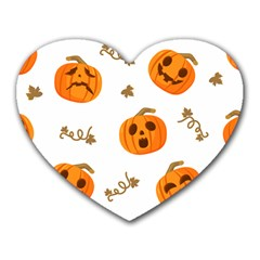 Funny Spooky Halloween Pumpkins Pattern White Orange Heart Mousepads by HalloweenParty