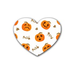 Funny Spooky Halloween Pumpkins Pattern White Orange Heart Coaster (4 Pack)  by HalloweenParty